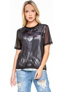 Blusa Caos Malha Com Frente Tule Silk Be Nice Feminina - Feminino-Preto