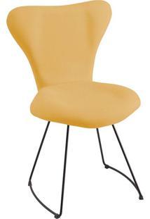 Cadeira Jacobsen Meia Lua Linho Amarelo