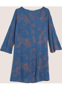 Vestido Manga Bordado Yorio Azul