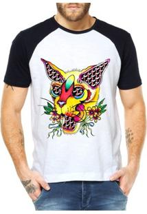 Camiseta Raglan Criativa Urbana Gato Psicodélico 2 - Masculino-Branco