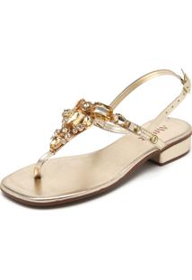 Sandália Amber Pedraria Dourada
