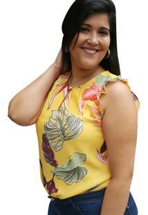 Regata Floral Linda D+ Amarelo - Tricae