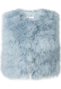 Red Valentino Colete Cropped Com Plumas Marabou - Azul