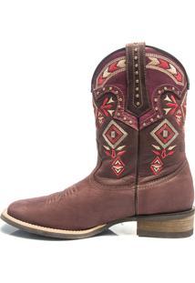 Bota Texana Feminina - Dallas Bordo / Pink - Roper - Bico Quadrado - Cano Medio - Solado Nevada - Vimar Boots - 13026-A-Vr