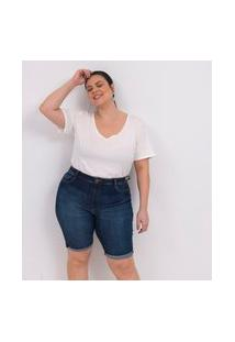Bermuda Ciclista Jeans Com Barra Dobrada Curve & Plus Size