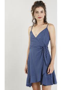 6e049a370 R$ 109,99. CEA Vestido Feminino Curto Envelope Listrado Decote V Azul  Marinho