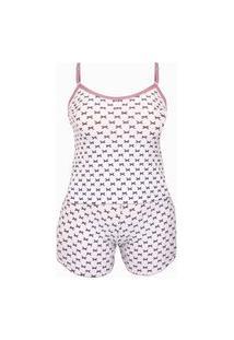 Baby Doll Plus Size Em Liganete Estampado O43 Branco Variado 46