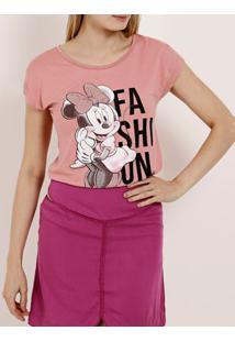 Blusa Manga Curta Feminina Disney Rosa