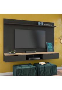 Painel Para Tv 47 Polegadas Gondor Preto Acetinado E Natural Carvalho 163 Cm