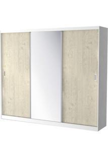 Roupeiro 774-E1 3 Portas De Correr C/ 1 Espelho E 2 Gavetas - 220Cm - Marfim Areia