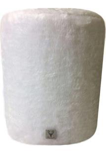 Puff Redondo Alce Couch Pelinho Pelúcia Branco 45Cm