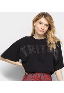 Camiseta Triton C/ Aplicação Manga Curta Feminina - Feminino-Preto