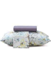 Jogo De Cama Floral New Confort Solteiro- Branco & Azul