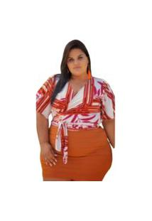 Short Saia Summer Body Plus Size Camadas Terracota