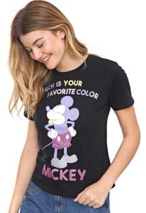 Blusa Cativa Disney Paetês Mickey Preta