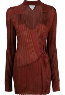 Bottega Veneta Suéter Canelado Com Recorte Vazado - Marrom