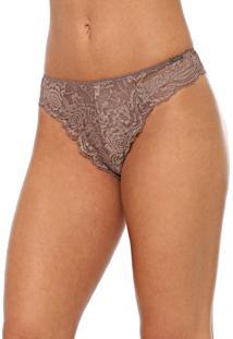 Calcinha Calvin Klein Underwear Fio Dental Renda Marrom