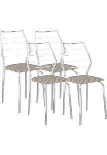 Cadeira 1716 04 Unidades Retrô Metalizado/Cromada Carraro