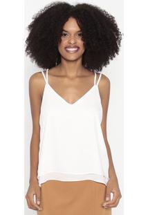Blusa Lisa Com Recortes Sobrepostos - Off White - Wowool Line