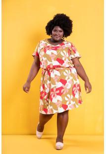 Vestido Tropicália Ocre Flores Plus Size