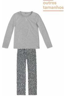 Pijama Feminino Em Malha Com Calça Estampada Em Outros Tamanhos