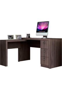 Mesa Para Escritório Me4101 3 Gavetas Reversível Carvalho - Tecno Mobili