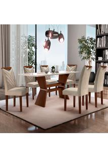 Conjunto De Mesa De Jantar Oxford Com Vidro E 6 Cadeiras Jacquard Ll Off White E Bege