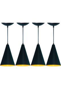 Kit 04 Luminárias Pendente Cone Em Alumínio Preto E Amarelo