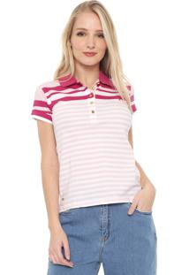 Camisa Polo Aleatory Listrada Rosa