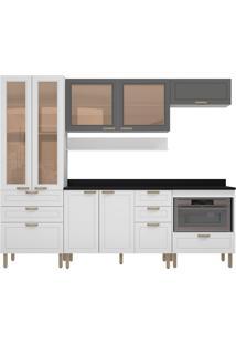Cozinha Modulada 7 Peças Com Tampo E Nevada 5684Vdtp-Multimóveis - Branco Premium / Grafite Premium