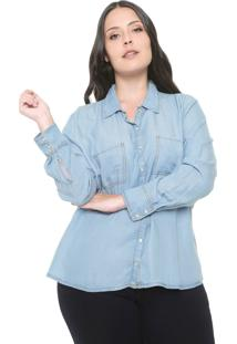 Camisa Cativa Plus Reta Bolsos Azul