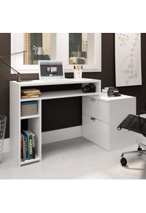 Mesa Para Computador Com 2 Gavetas E 2 Prateleiras 420 - Movelbento - Branco