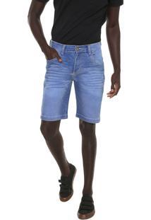 Bermuda Jeans Local Reta Pespontos Azul