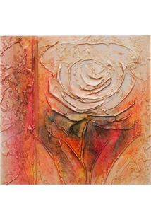 Quadro Artesanal Com Textura Rosa Colorido 30X30Cm Uniart