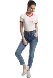 T-Shirt Detalhe Scuba Com Serigrafia Amora Café Off White