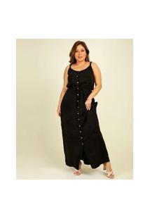 Vestido Plus Size Longo Feminino Chemise Alças Finas