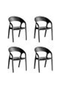Kit 4 Cadeiras Glass Plus Em Polipropileno - Kappesberg - Preto