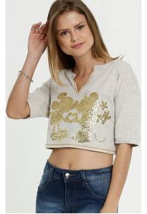 Blusa Feminina Cropped Estampa Minnie Disney