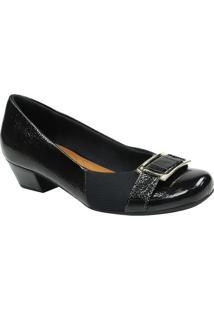 Sapato Tradicional Em Couro Com Fivela- Preto & Dourado