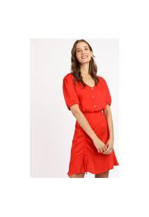 Vestido Feminino Curto Babado Manga Bufante Vermelho