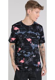 Camiseta Masculina Estampada De Flamingos Manga Curta Gola Careca Preta