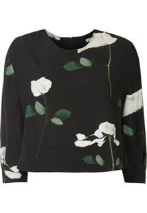 Osklen Blusa Cropped Rose Glitch - Preto