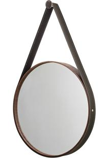 Espelho Redondo Com Moldura E Cinta De Couro 46Cm Imbuia