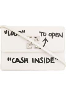 Off-White Bolsa Tiracolo Jitney 1.0 Cash Inside De Couro - Branco