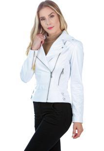 Jaqueta De Couro Javali Perfecto 205 Branca - Branco - Feminino - Couro - Dafiti