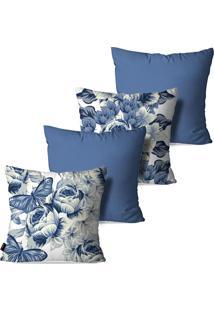 Kit Com 4 Capas Para Almofadas Pump Up Decorativas Azul Vintage Flores Borboletas 45X45Cm