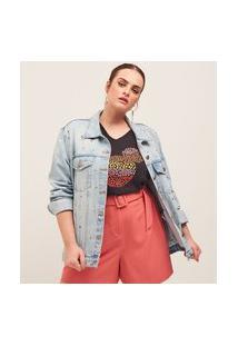 Jaqueta Jeans Com Bolsos Frontais E Tachas Curve & Plus Size