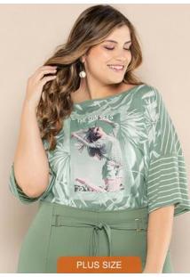 Blusa Plus Size Decote Canoa Verde