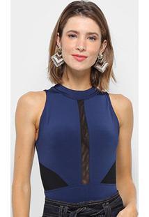 Body Mob Jersey Com Tule Feminino - Feminino-Azul