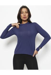 Blusa Lisa Com Recortes- Azul Marinho- Patrapatra